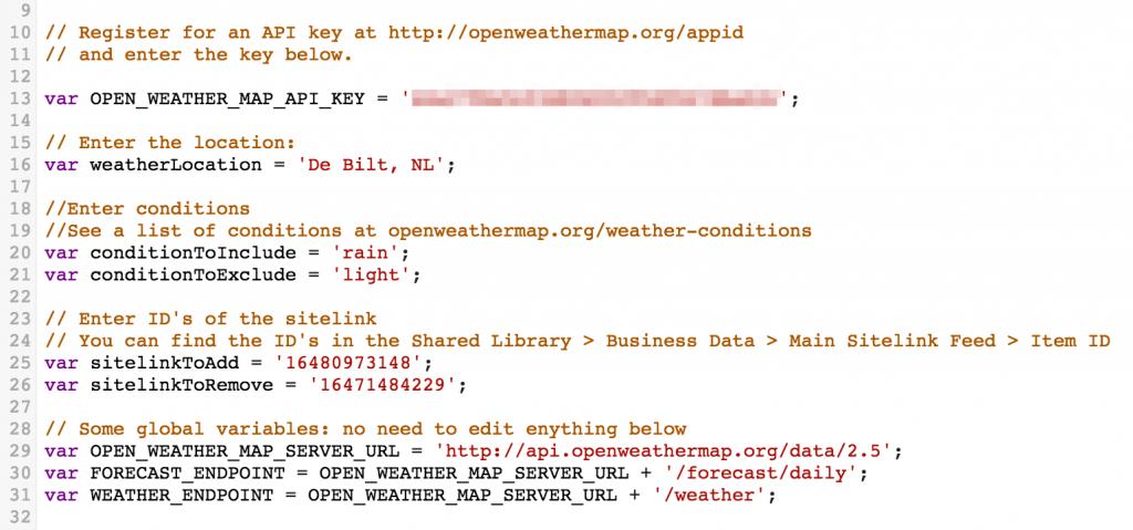 Weather & Sitelink script – Brightstep